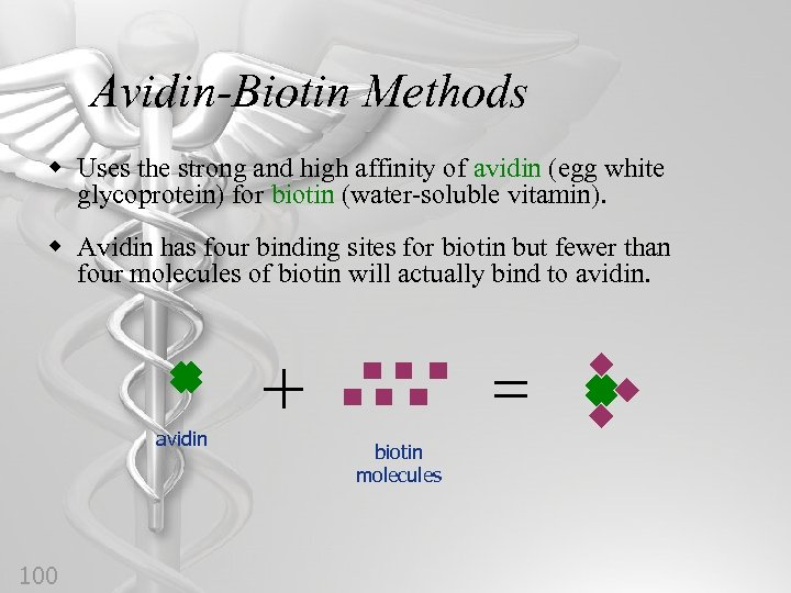 Avidin-Biotin Methods w Uses the strong and high affinity of avidin (egg white glycoprotein)