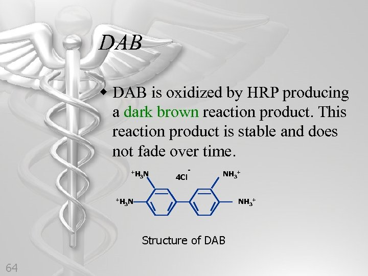 DAB w DAB is oxidized by HRP producing a dark brown reaction product. This
