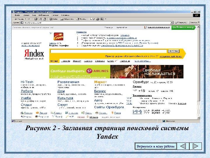 Рисунок 2 - Заглавная страница поисковой системы Yandex Вернуться к ходу работы