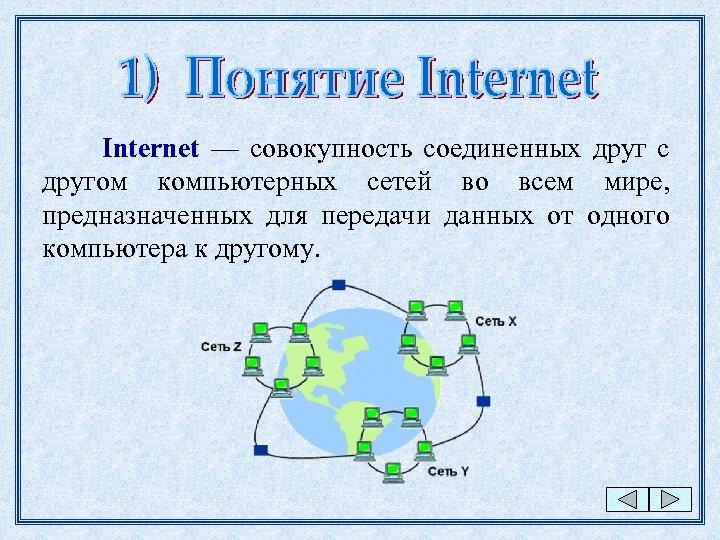 Internet — совокупность соединенных друг с другом компьютерных сетей во всем мире, предназначенных для