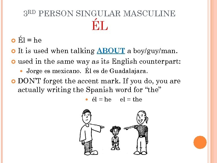 3 RD PERSON SINGULAR MASCULINE ÉL Él = he It is used when talking