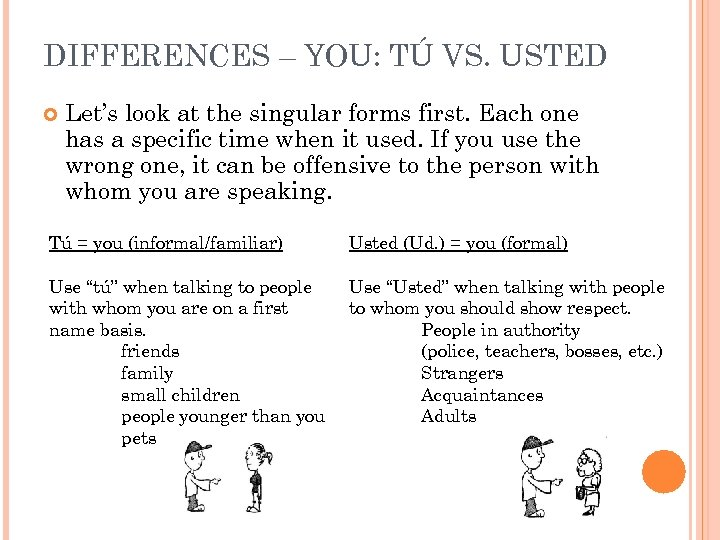 DIFFERENCES – YOU: TÚ VS. USTED Let's look at the singular forms first. Each