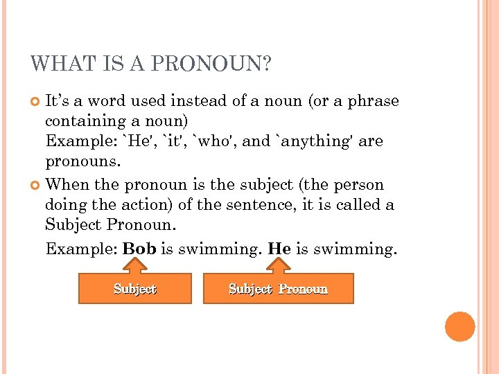 WHAT IS A PRONOUN? It's a word used instead of a noun (or a
