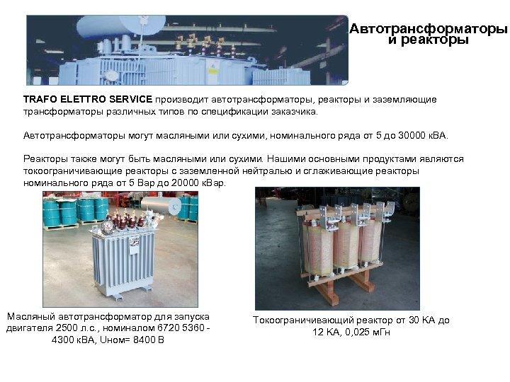 Автотрансформаторы и реакторы TRAFO ELETTRO SERVICE производит автотрансформаторы, реакторы и заземляющие трансформаторы различных типов