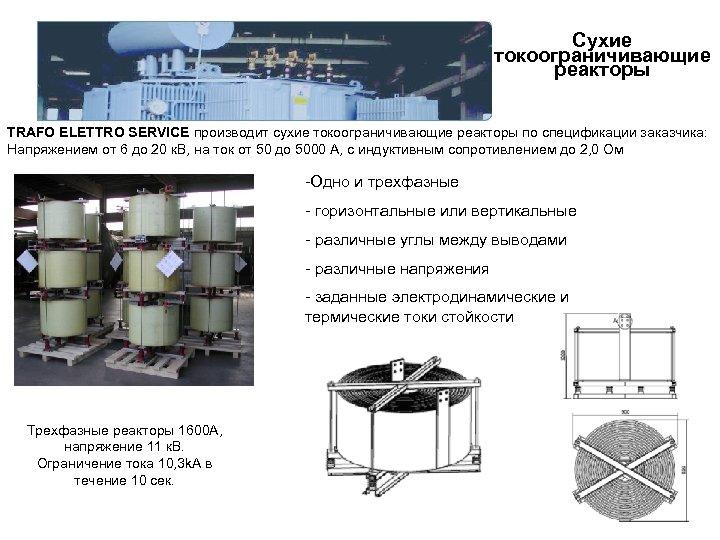 Сухие токоограничивающие реакторы TRAFO ELETTRO SERVICE производит сухие токоограничивающие реакторы по спецификации заказчика: Напряжением