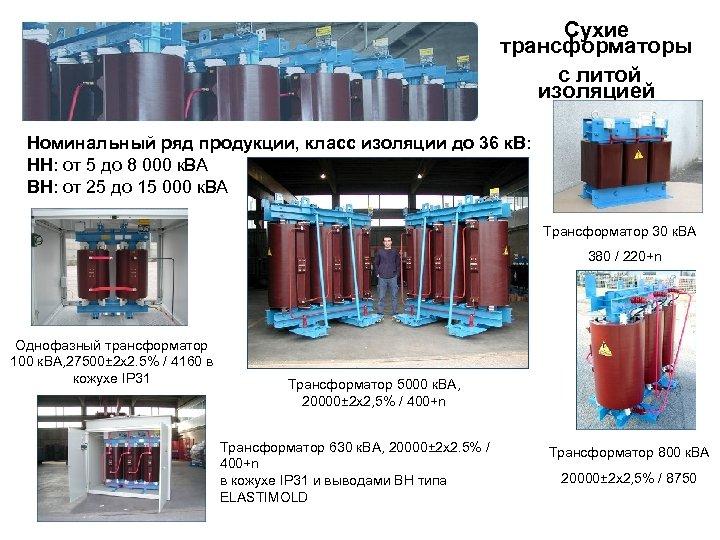 Сухие трансформаторы с литой изоляцией Номинальный ряд продукции, класс изоляции до 36 к. В: