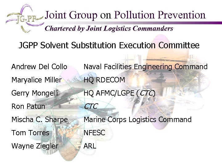 Joint Group on Pollution Prevention Chartered by Joint Logistics Commanders JGPP Solvent Substitution Execution