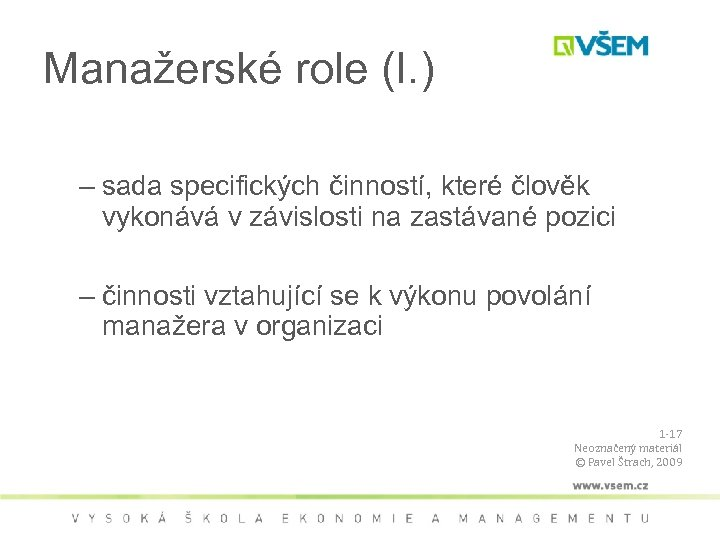 Manažerské role (I. ) • Role – sada specifických činností, které člověk vykonává v