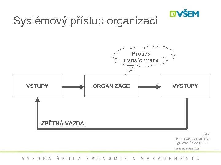 Systémový přístup organizaci Proces transformace VSTUPY ORGANIZACE VÝSTUPY ZPĚTNÁ VAZBA 2 -47 Neoznačený materiál