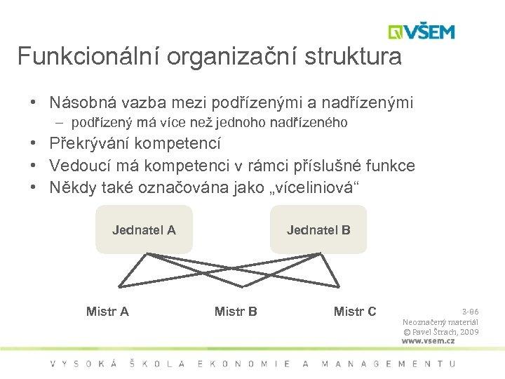 Funkcionální organizační struktura • Násobná vazba mezi podřízenými a nadřízenými – podřízený má více
