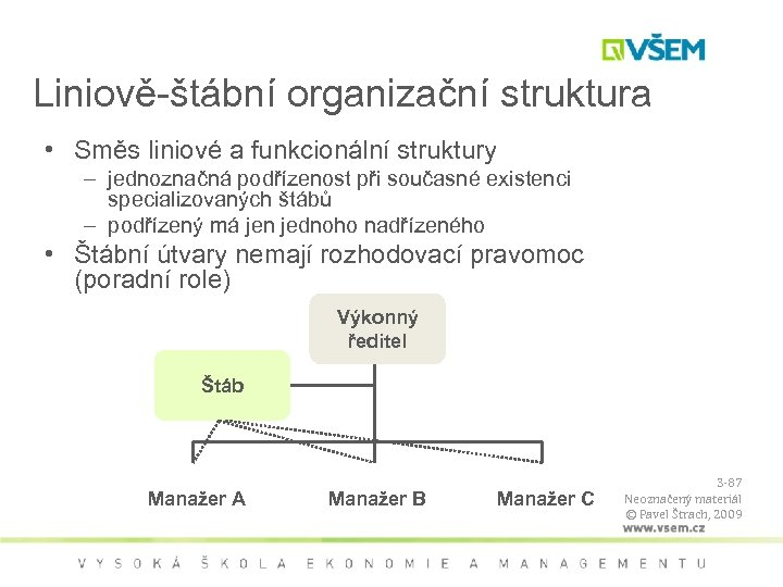 Liniově-štábní organizační struktura • Směs liniové a funkcionální struktury – jednoznačná podřízenost při současné