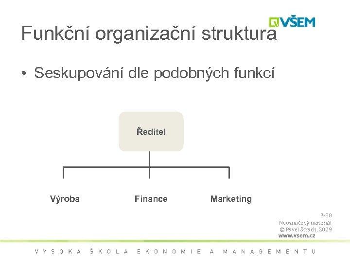 Funkční organizační struktura • Seskupování dle podobných funkcí Ředitel Výroba Finance Marketing 3 -88