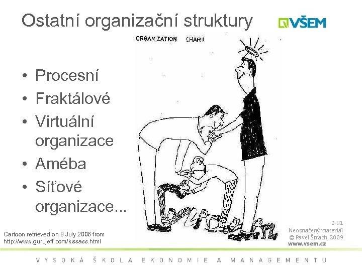 Ostatní organizační struktury • Procesní • Fraktálové • Virtuální organizace • Améba • Síťové
