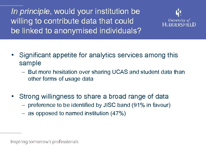 In principle, would your institution be willing to contribute data that could be linked