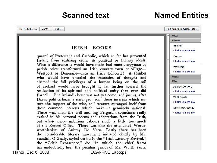 Scanned text Hanoi, Dec 6, 2008 ECAI-PNC Laptops Named Entities