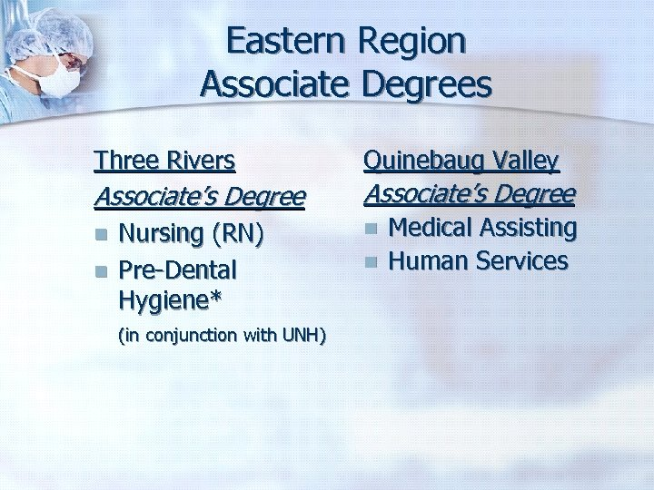 Eastern Region Associate Degrees Three Rivers Quinebaug Valley Associate's Degree n n Nursing (RN)