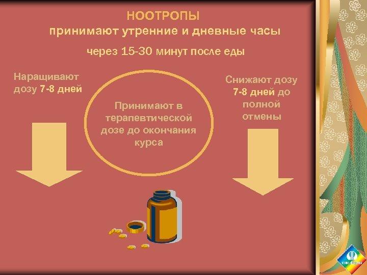 НООТРОПЫ принимают утренние и дневные часы через 15 -30 минут после еды Наращивают дозу