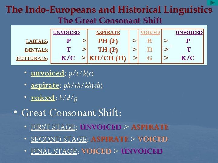 The Indo-Europeans and Historical Linguistics The Great Consonant Shift UNVOICED LABIALS: DENTALS: GUTTURALS: P