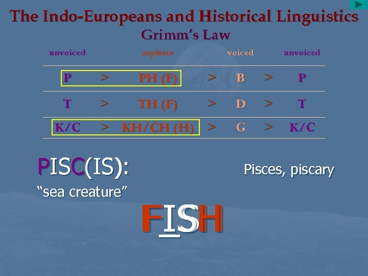 The Indo-Europeans and Historical Linguistics Grimm's Law unvoiced aspirate voiced unvoiced P > PH