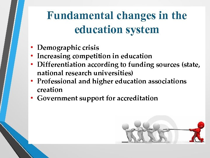 Fundamental changes in the education system • Demographic crisis • Increasing competition in education
