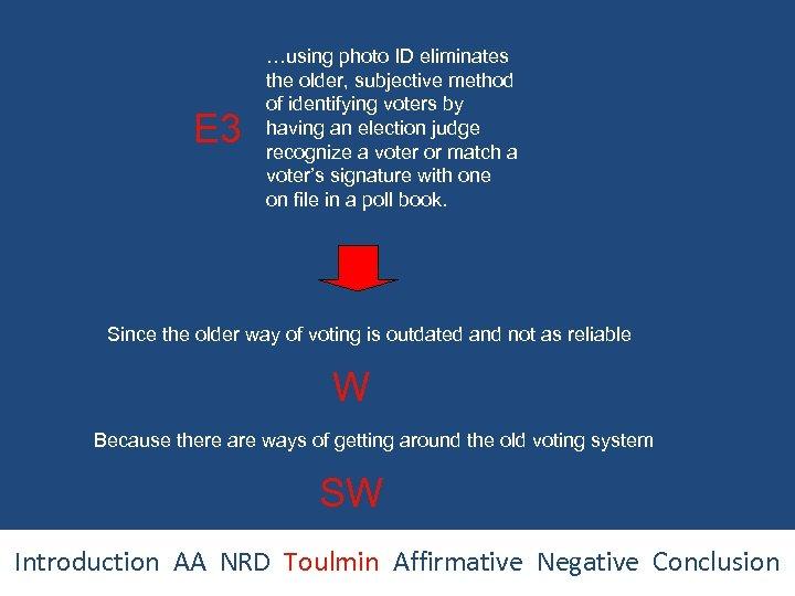 E 3 …using photo ID eliminates the older, subjective method of identifying voters by