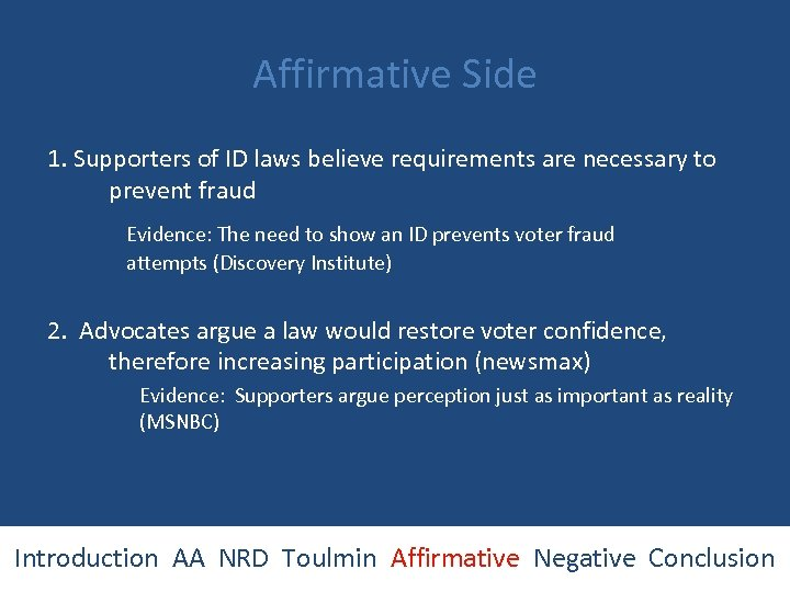 Affirmative Side 1. Supporters of ID laws believe requirements are necessary to prevent fraud