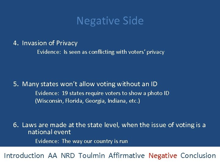 Negative Side 4. Invasion of Privacy Evidence: Is seen as conflicting with voters' privacy