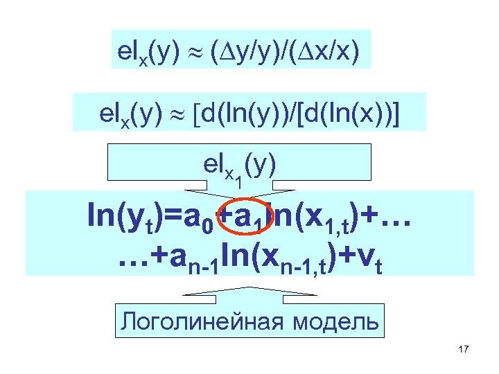 elx(y) » (Dy/y)/(Dx/x) elx(y) » [d(ln(y))/[d(ln(x))] elx (y) 1 ln(yt)=a 0+a 1 ln(x 1,