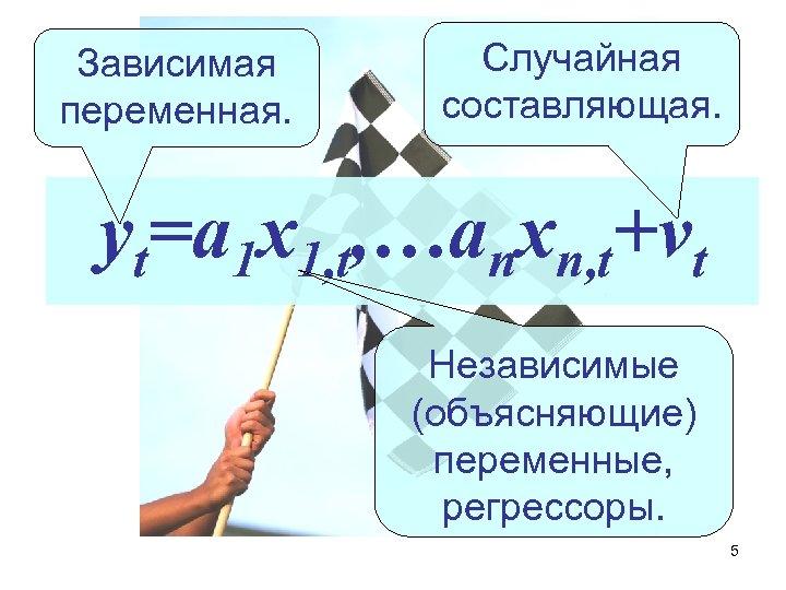 Зависимая переменная. Случайная составляющая. yt=a 1 x 1, t, …anxn, t+vt Независимые (объясняющие) переменные,