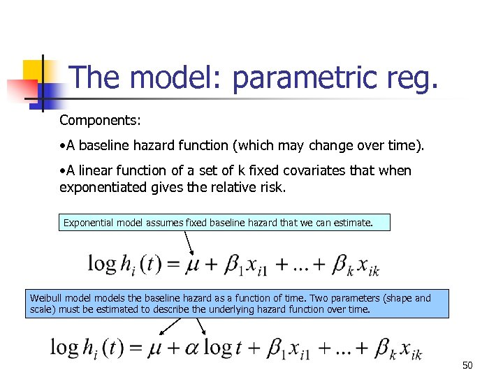 The model: parametric reg. Components: • A baseline hazard function (which may change over