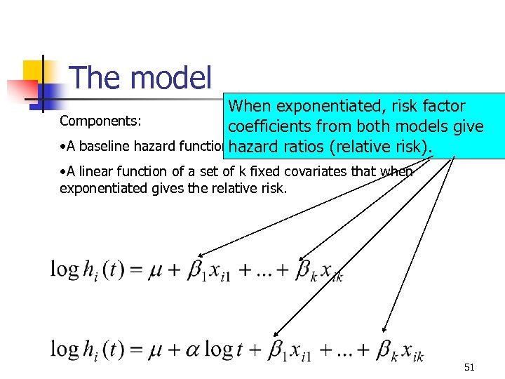 The model When exponentiated, risk factor Components: coefficients from both models give • A