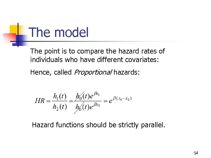 The model The point is to compare the hazard rates of individuals who have