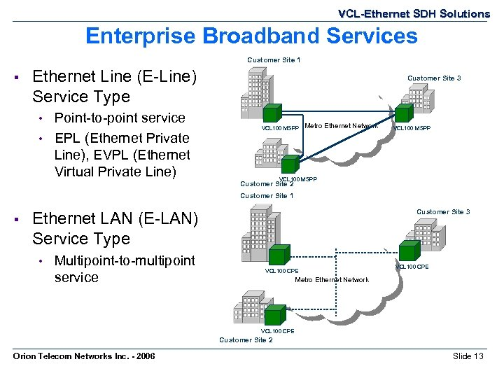 VCL-Ethernet SDH Solutions Enterprise Broadband Services Customer Site 1 § Ethernet Line (E-Line) Service