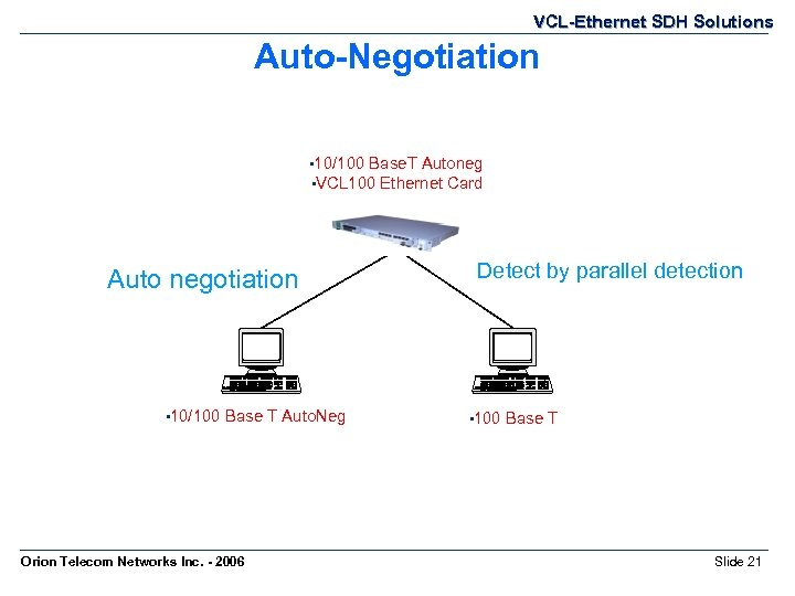 VCL-Ethernet SDH Solutions Auto-Negotiation • 10/100 Base. T Autoneg • VCL 100 Ethernet Card