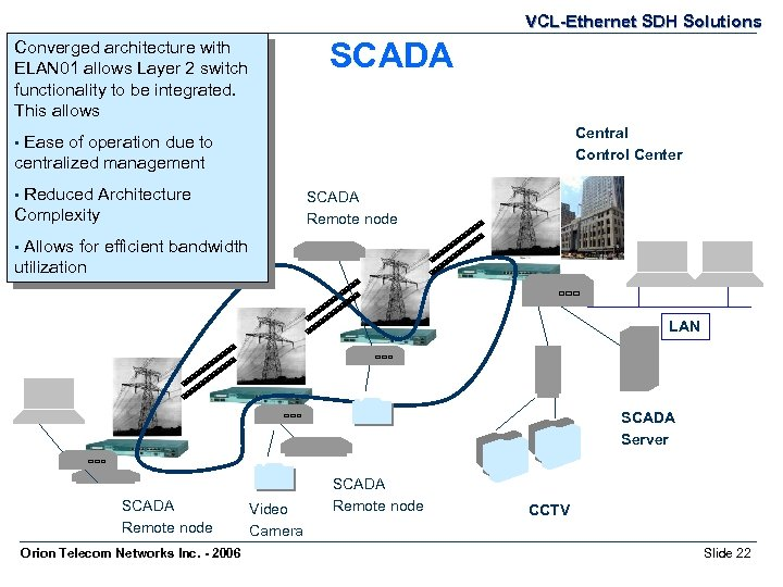VCL-Ethernet SDH Solutions SCADA Converged architecture with ELAN 01 allows Layer 2 switch functionality