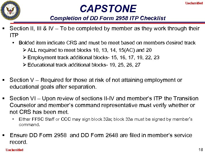 CAPSTONE Unclassified Completion of DD Form 2958 ITP Checklist § Section II, III &