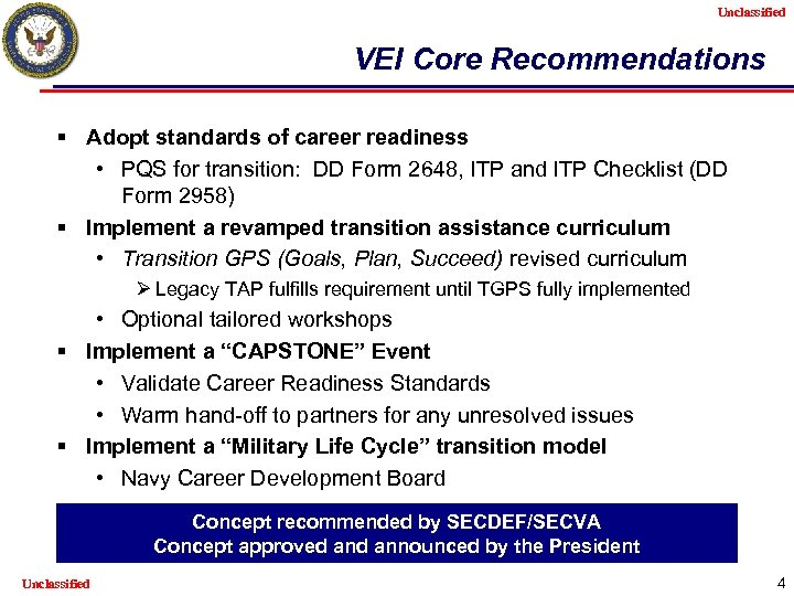Unclassified VEI Core Recommendations § Adopt standards of career readiness • PQS for transition: