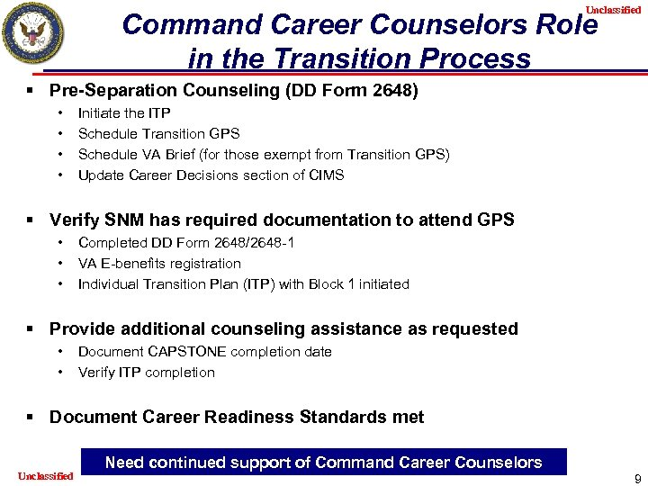 Unclassified Command Career Counselors Role in the Transition Process § Pre-Separation Counseling (DD Form