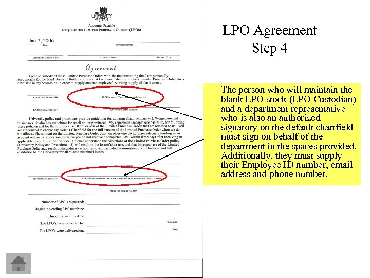 LPO Agreement Step 4 The person who will maintain the blank LPO stock (LPO