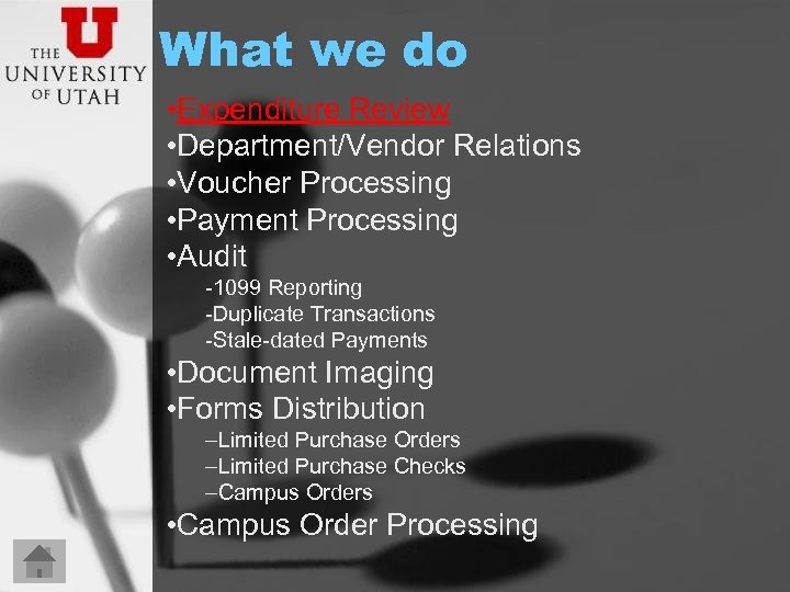 What we do • Expenditure Review • Department/Vendor Relations • Voucher Processing • Payment
