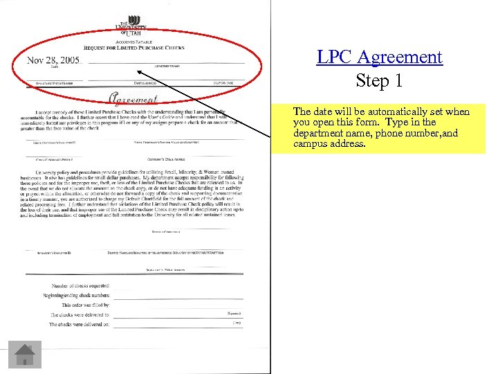 LPC Agreement Step 1 The date will be automatically set when you open this