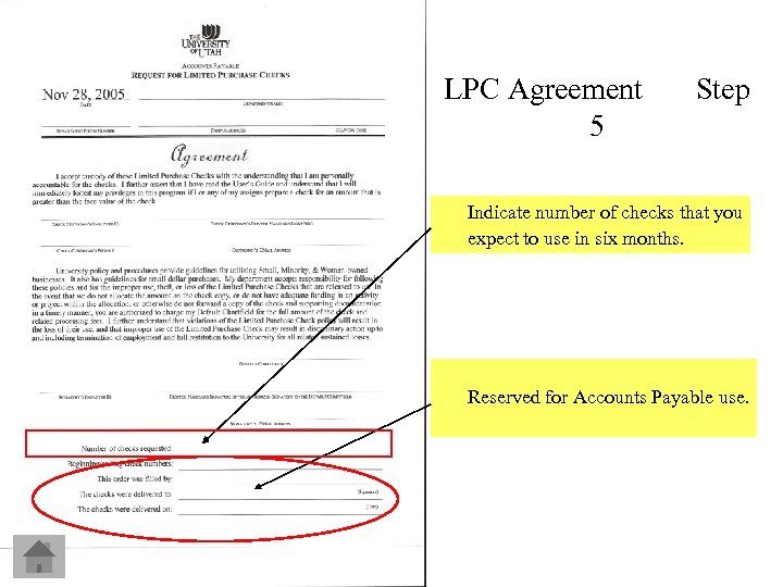LPC Agreement 5 Step Indicate number of checks that you expect to use in