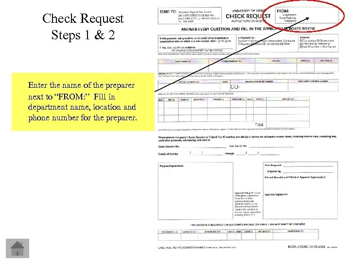 Check Request Steps 1 & 2 Enter the name of the preparer next to