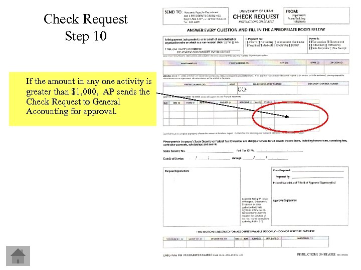 Check Request Step 10 If the amount in any one activity is greater than