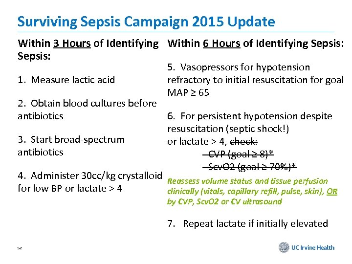 Surviving Sepsis Campaign 2015 Update Within 3 Hours of Identifying Within 6 Hours of