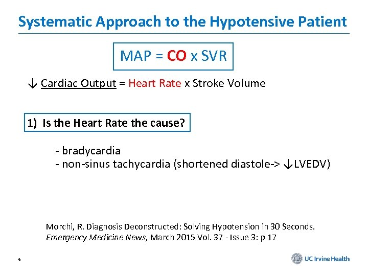 Systematic Approach to the Hypotensive Patient MAP = CO x SVR ↓ Cardiac Output