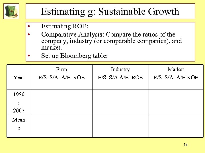 Estimating g: Sustainable Growth • • • Year Estimating ROE: Comparative Analysis: Compare the