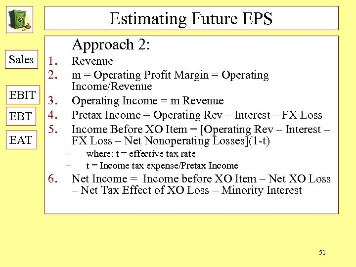 Estimating Future EPS Approach 2: Sales 1. 2. EBIT 3. 4. 5. EBT EAT