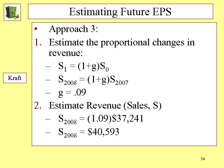 Estimating Future EPS Kraft • Approach 3: 1. Estimate the proportional changes in revenue: