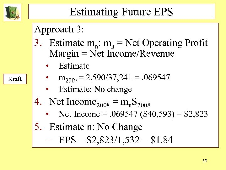 Estimating Future EPS Approach 3: 3. Estimate mn: mn = Net Operating Profit Margin
